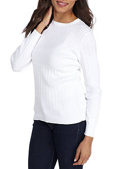 Kim Rogers Cable Crew Solid Sweater