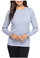 Kim Rogers® Cable Crew Two Color Marled Top