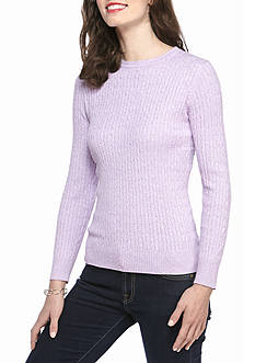 Kim Rogers Cable Crew Two Color Marled Top