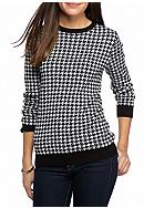 Kim Rogers® Houndstooth Jacquard Crew Neck