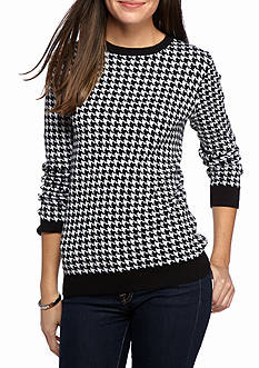 Kim Rogers® Houndstooth Jacquard Crew Neck Sweater