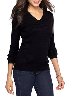 Kim Rogers Cable V-Neck Solid