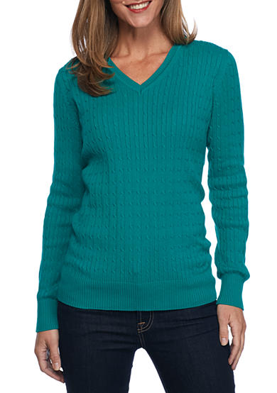 Kim Rogers® Cable V-Neck Solid Top