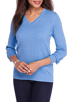 Kim Rogers Cable V-Neck Solid Sweater
