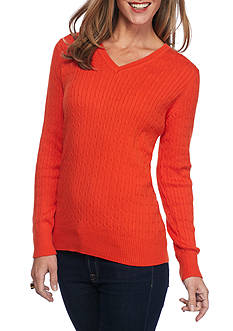 Kim Rogers Cable V-Neck Solid Top