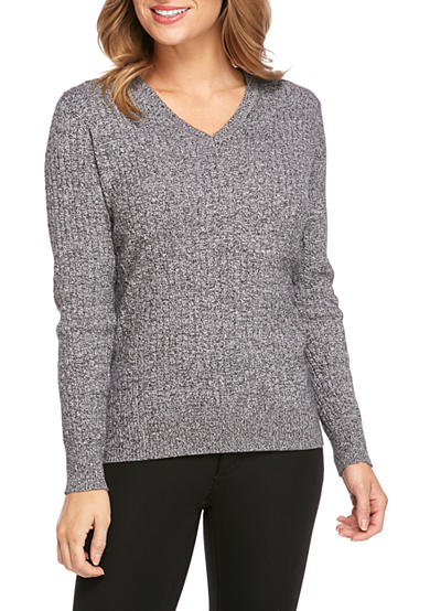 Kim Rogers® Cable Knit V-Neck Sweater