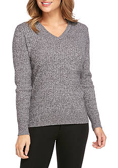 Kim Rogers Cable Knit V-Neck Sweater
