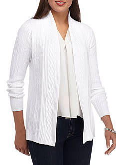 Kim Rogers Open Cardigan Cable Solid Top