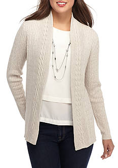 Kim Rogers Open Cardigan Cable Solid