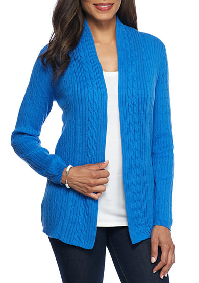 Kim Rogers® Open Cardigan Cable Solid