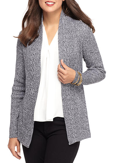 Kim Rogers® Cable Cardigan Two Color Marled