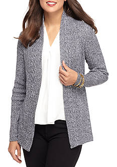 Kim Rogers Cable Cardigan Two Color Marled