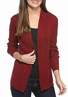 Kim Rogers Cable Cardigan Two Color Marled Top