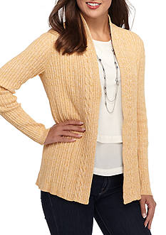 Kim Rogers Cable Cardigan Two Color Marled Sweater