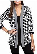 Kim Rogers® Houndstooth and Stripe Cardigan