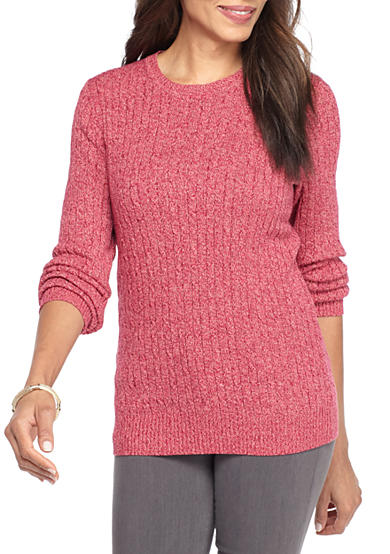 Kim Rogers® Cable Crew 3 Color Marled Sweater