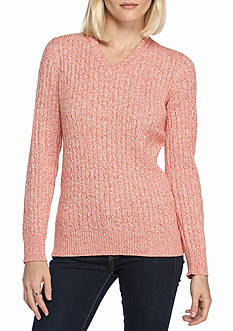 Kim Rogers Cable V-Neck 3 Color Marbled Sweater