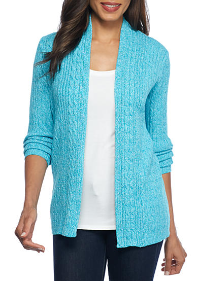 Kim Rogers® Cable Cardigan Three Color Marled