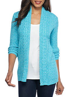 Kim Rogers Cable Cardigan Three Color Marled