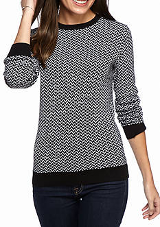 Kim Rogers Chevron Cross Jacquard Crew Neck Sweater