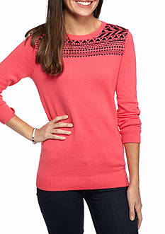 Kim Rogers® Jacquard Yoke Crew Knit Top