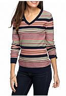 Kim Rogers® Cable V-Neck Stripe Sweater