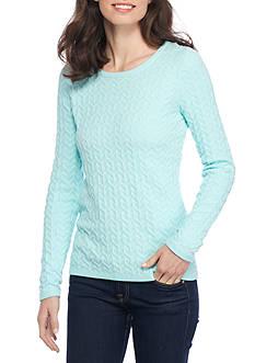 Kim Rogers Long Sleeve Chevron Jacquard Crew Neck Sweater