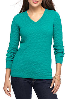Kim Rogers Diamond Jacquard V-Neck Sweater
