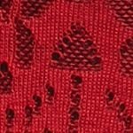 Pink Sweaters for Women: Red/Black Kim Rogers Jacquard Cowl Neck Poncho