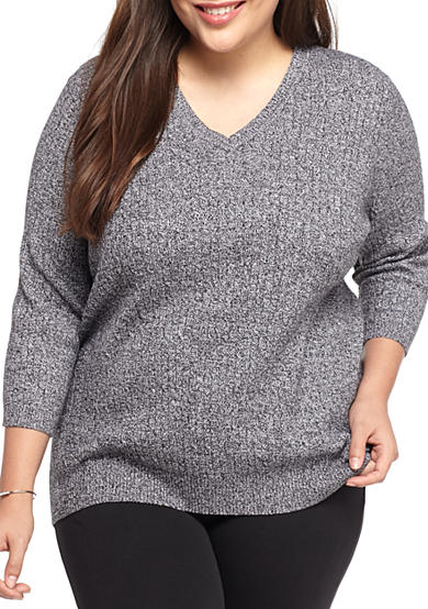 Kim Rogers® Plus Size V Neck Sweater
