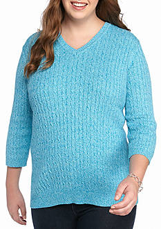 Kim Rogers Plus Size Cable V-Neck Sweater