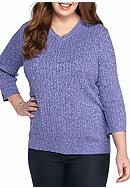 Kim Rogers® Plus Size Cable V-Neck Sweater