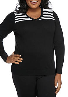 Kim Rogers Plus Size Striped Jacquard V Neck
