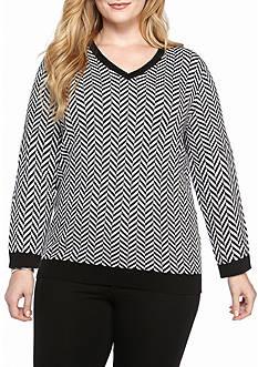 Kim Rogers Long Sleeve V Neck Herringbone Jacquard Sweater
