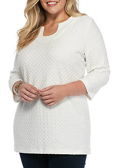 Kim Rogers Plus Size Horseshoe Tunic Textured Top