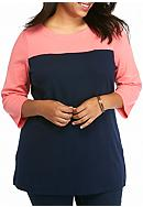 Kim Rogers® Plus Size Colorblock Tunic