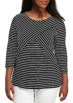 Kim Rogers® Plus Size Crisscross Stripe Knit Top