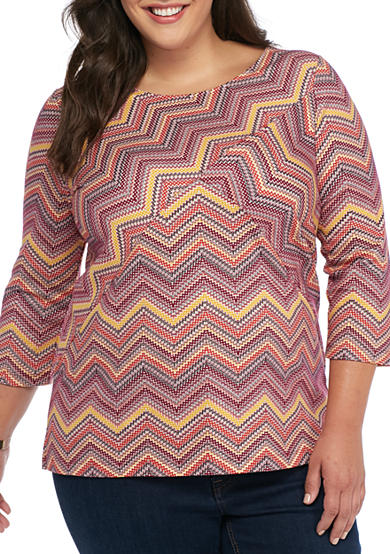 Kim Rogers® Plus Size Three Quarter Sleeve Chevron Splice Top