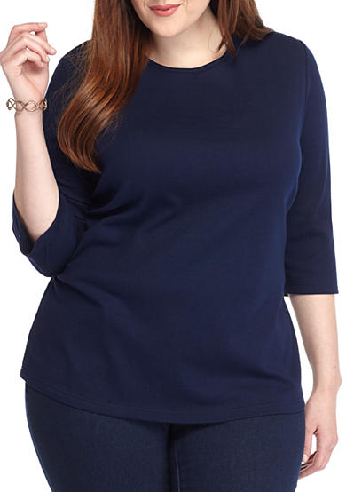 Kim Rogers® Plus Size Solid Bio Knit Top