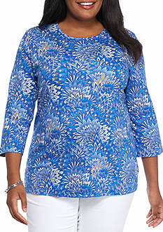 Kim Rogers Plus Size Solid Bio Feather Print Top