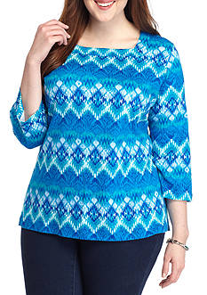 Kim Rogers Plus Size 3/4 Sleeve Square Neck Top