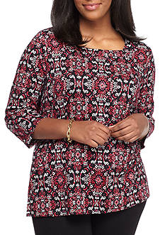 Kim Rogers Plus Size Square Neck Knit Top