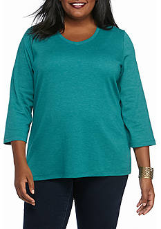 Kim Rogers Plus Size Three-quarter Sleeve Bio V-neck Tee