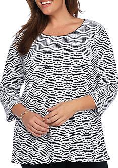 Kim Rogers Plus Size 3/4 Sleeve Jacquard Swing Top