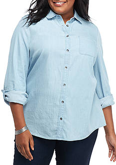 Kim Rogers Plus Size Roll Sleeve Button Front Chambray Top