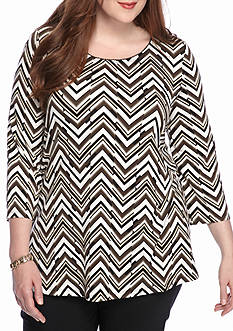Kim Rogers Plus Size Three-Quarter Sleeve Printed Shirt
