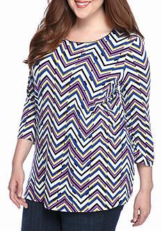 Kim Rogers Plus Size Three-Quarter Sleeve Printed Shirt