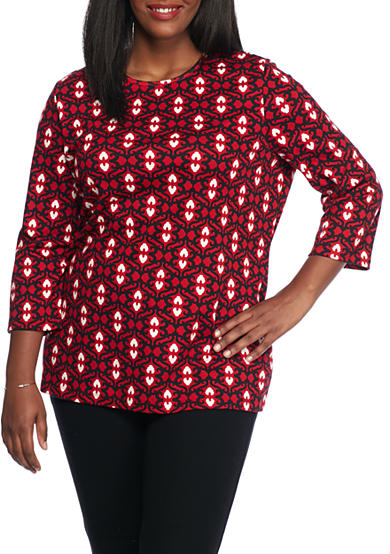 Kim Rogers® Three-Quarter Bio Crew Knit Top