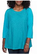 Kim Rogers® Plus Size Lace Swing Splice Knit