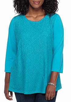 Kim Rogers® Plus Size Lace Swing Splice Knit Top
